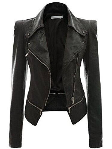 (AUSZOSLT Women Faux Leather Jacket Slim Punk Bomber Casual Zipper Short Coat Black)