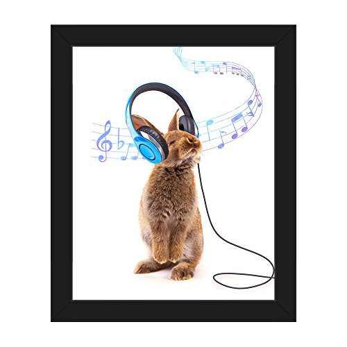 Canvas Rabbit Frame (Brown Rhythm Rabbit: Bunny Enjoying Music with Blue Headphones, Music Whirling Around his Head Wall Art Print on Canvas with Black Frame)
