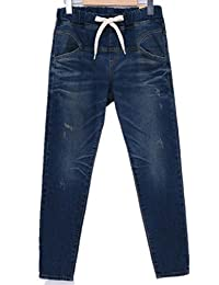 Women's Elastic Waist Lace up Relaxed Straight Denim Pants Jeans Plus Size