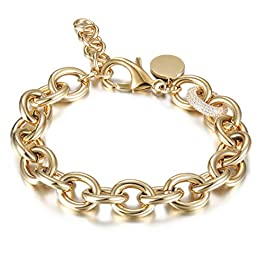 CIUNOFOR CZ Bracelet for Women Girls Wide Cuban Curb Oval Link Bracelet Silver Rose Gold Plated 9.5 Inches Stainless Steel Chain with Round Disc Charm