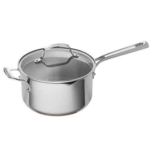 Emeril Lagasse Stainless Steel Copper Core Saucepan, 4 quart, Silver