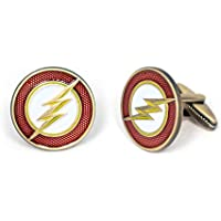 SharedImagination Flash Cufflinks, The Justice League Tie Clip, DC Comics Jewelry, Batman vs Superman Logo Cuff Links Link, Marvel Avengers Tie Tack, Groomsmen Gift Wedding Party