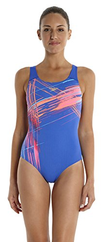 Speedo vibedive Power Back-Bañador para mujer Multicolor ( Deep Peri/Blu)