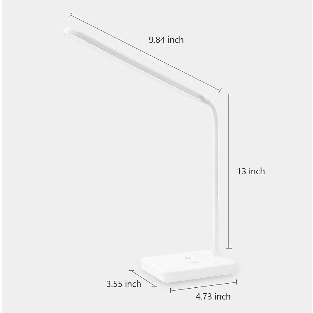 Rechargeable Led Desk Table Lamp for Kids Study with Phone Holder USB Charging Port, Eye Caring Reading Book Light in Bed Touch Control Dimmable Adjustable, Battery Powered for Home Bedroom Headboard