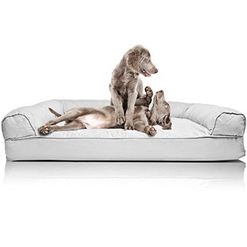 FurHaven Pet Dog Bed | Orthopedic Quilted Sofa-Style Couch Pet Bed for Dogs & Cats, Silver Gray, Jumbo