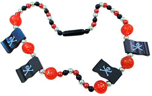 Light Up Pirate Flag Necklace Skull & Crossbone with Flashing LED Beads