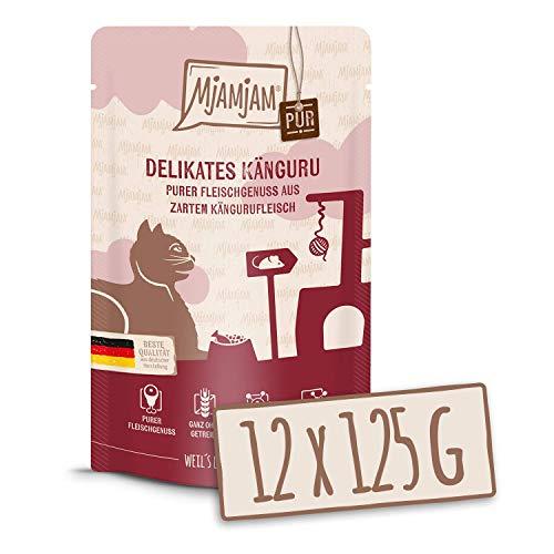 MjAMjAM – Premium Nassfutter für Katzen – Quetschie – purer Fleischgenuss – saftiges Hühnchen pur, 12er Pack (12 x 125 g…