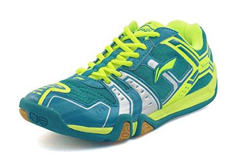 LI-NING Men Saga Lightweight Anti-Slippery Badminton Shoes Breathable Professional Sport Shoes Green AYTM085 US 9
