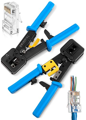 Crimping Tool for Pass Through Connectors End | EZ Cut, Strip, Crimp Electrical Cable | Heavy Duty Crimper for RJ11 & RJ45 Plugs | Professional Electronic Networking Cat5 & Cat6, Tools & Accessories