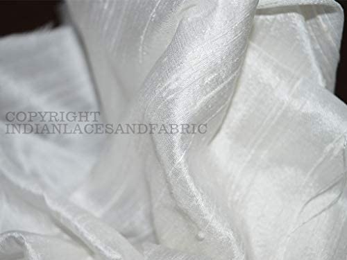 White Dupioni Silk fabric Sewing dress material Wedding