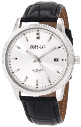August Steiner Men's ASA825SS Diamond Automatic Strap Dress Watch