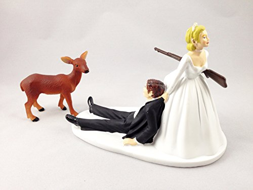 Deer Hunting Groom Hunted By Bride - Funny Hunting Wedding Cake Topper ()