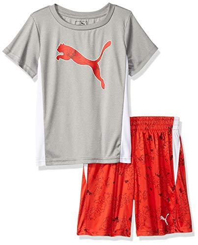 PUMA Little Boys' T-Shirt & Short Set, Light Heather Grey ()