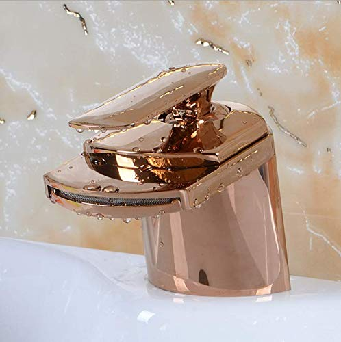 Copper faucet bathroom antique wide mouth faucet wire drawing bathroom supplies countertop basin rose gold faucet