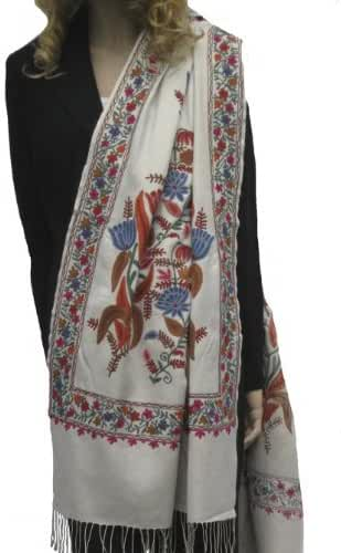 PASHMINA SHAWL/SCARF/WRAP WITH ALL OVER CREWEL EMBROIDERY (IVORY)