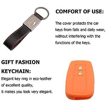 kaser Housse /étui en Silicone pour Cl/é Toyota Noir Coque Cover Porte-Cl/és 2 Boutons pour Prius Auris Aygo RAV4 Protection T/él/écommande Voiture Keyless