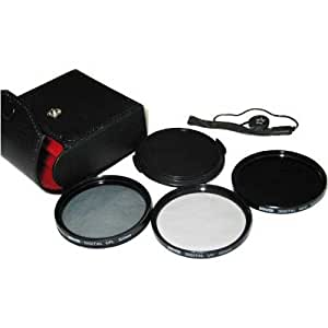 Bower 58mm Digital Hi Resolution Filter set UV, CPL, ND4 with cap and leash