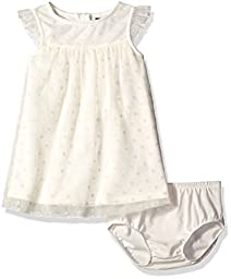 Nautica Baby Tulle Dress with Flocked Dot, Cream, 12 Months