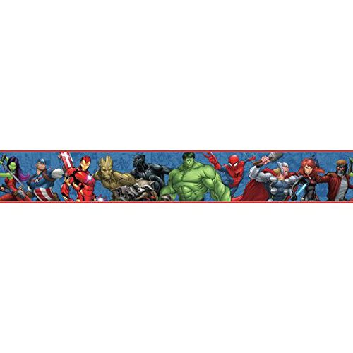 - York Wallcoverings DY0263BD Disney Kids III Marvel Characters Border, Blues