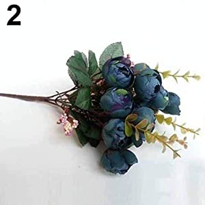 lightclub 1Pc 15 Heads 5 Branches Artificial Rose Buds Wedding Home Decor False Flowers Blue 45