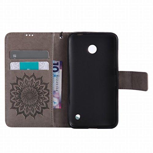 LEMORRY Nokia Lumia 630 Custodia Pelle Cuoio Flip Portafoglio Borsa Sottile Bumper Protettivo Magnetico Morbido Silicone TPU Cover Custodia per Nokia Lumia 630, Fiorire Grigio