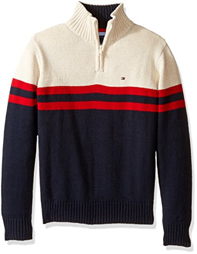 Tommy Hilfiger Little Boys Connor Half Zip Sweater, Swim Navy, 6 (Half Zip Sweater Blue)