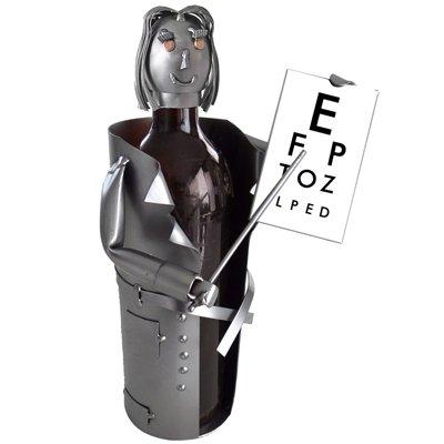 Eye Doctor  Female  Wine Bottle Holder H K Steel Sculpture