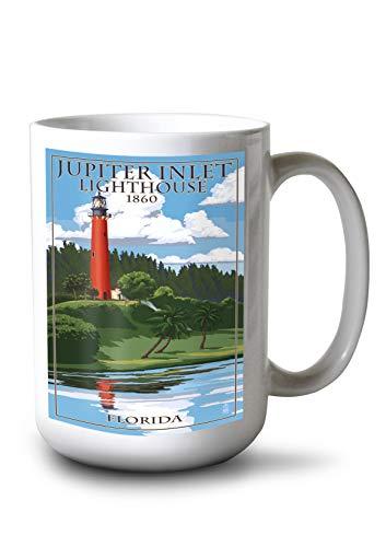 Jupiter Inlet Lighthouse - Lantern Press Jupiter, Florida - Jupiter Inlet Lighthouse (15oz White Ceramic Mug)