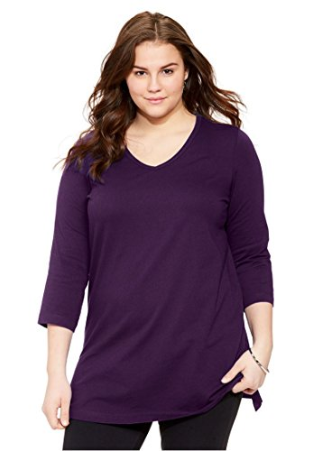 Womens Plus Size Top  The Perfect Tunic With 3 4 Sleeves Royal Grape 6X