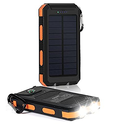 Solar Charger, Dostyle 10000mAh Dual USB Solar Battery Charger External Battery Pack Phone Charger Power Bank with Carabiner Flashlight & Compass