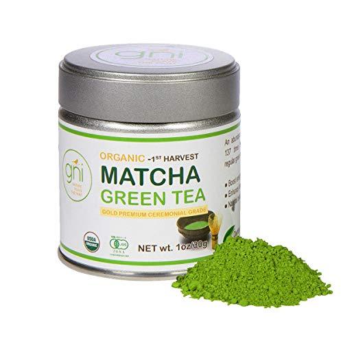 GNI Organic Matcha Green Tea Powder – Premium Ceremonial Grade – USDA & JAS Certified, Authentic Japanese Origin, First Harvest – 30g (1oz) Tin For Sale