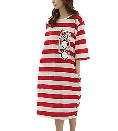 Damen T Shirt Kleid Elegante Modisch Gestreift Lang Sommerkleider 3 4 Ärmel  Rundhals Loose Hübsch 590d1d0b8d