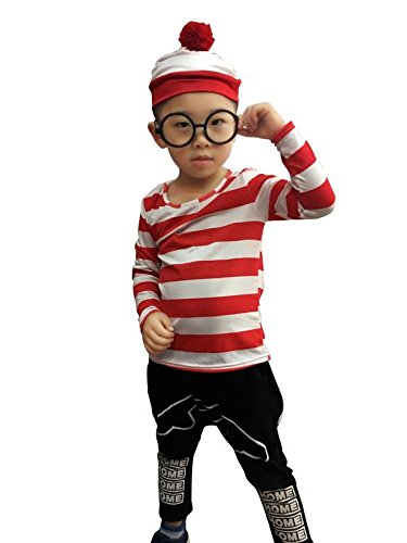 Waldo Wizard Costume (Costhat Where's Waldo Costume Kid Child Toddler T-Shirt Hat Glasses Outfit Christmas Tee Shirts)