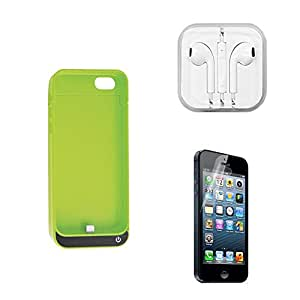 [3 in 1 Bundles]iCrown(TM) 4200mAh External Protective Battery Case(Green) for iPhone 5c 5 5s with Clear Screen Protector and Earphone
