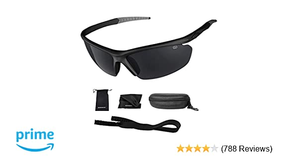 1969a706ccc5 Amazon.com: Polarized UV400 Sport Sunglasses Anti-Fog Ideal for Driving or  Sports Activity (Black, Grey): Clothing