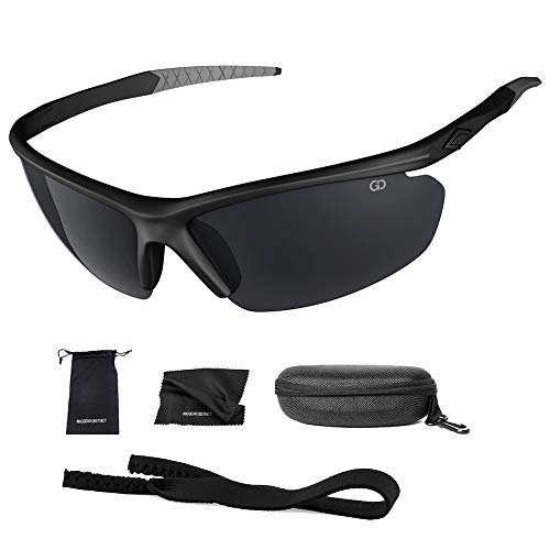 (Polarized UV400 Sport Sunglasses Anti-Fog Ideal for Driving or Sports Activity (Black, Grey) )
