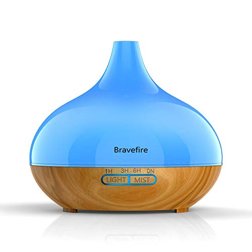 Bravefire Essential Oil Diffuser, 550ml Aroma Wood Grain Aromatherapy Diffusers Cool Mist Humidifier for Office Home Study Yoga Spa Baby, Auto Shut-Off and 7 Color Night Lights