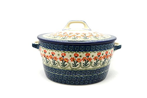(Polish Pottery Baker - Round Covered Casserole - Peach Spring)