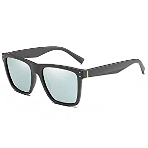 IALUKU Wayfarer Sunglasses for Men Polarized Classic Square Horn Rimmed UV400 Matte Gray / Quicksilver 52MM