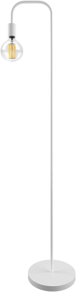 Oneach Industrial LED Floor Lamp for Living Room Bedroom Reading Office Metal Minimalist Standing Lamp White