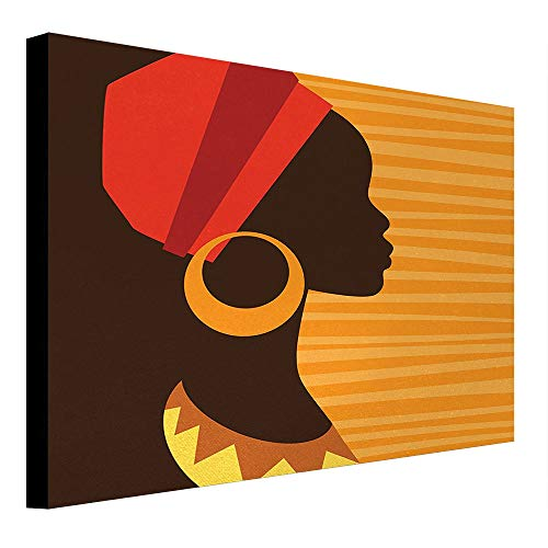 depinshangmao African Canvas Girl Profile Silhouette with Earrings Feminine Grace Ethnic Icon Image Painting Dark Brown and Marigold 31