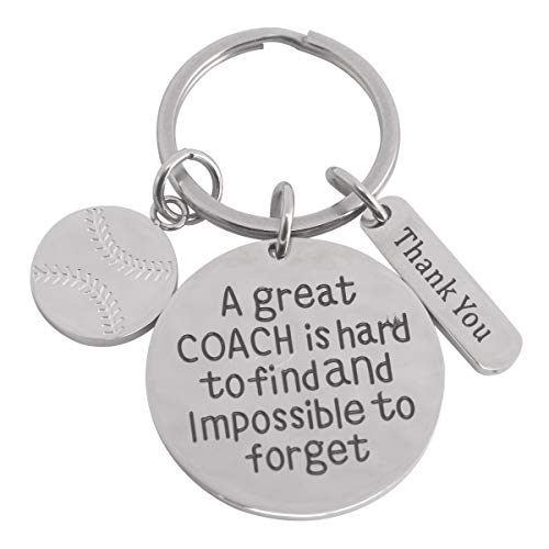 Exweup Unisex Softball Coach Keychain Teacher Application Gifts for Softball Coach Baseball Keychain for Coach Engraved A Great Coach is Hard to Find and Impossible to Forget.