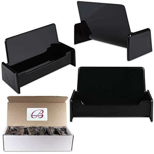 Beauticom 12 Pieces - Black Color Plastic Business Card Holder Display Desktop Countertop (Style # 3) ()
