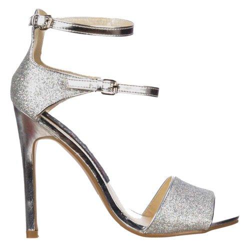 Onlineshoe Damen Peep Toe Mid Heels - High Back Riemchensandalen - Silber Glitter Silber