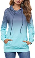 FLOYU Womens Tie Dye Print Hoodie Sweatshirt Colorblock Long Sleeve Pullover Tops with Pocket