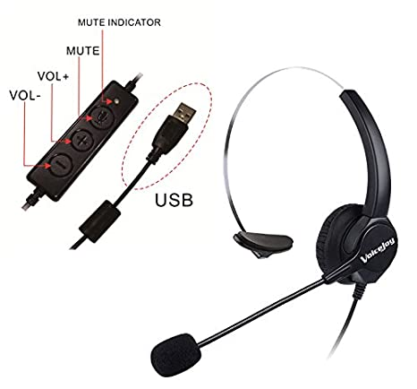 4c33a7f04dd VoiceJoy USB Plug Corded Headphone Call Center Comfort Noise Cancelling  Headset with Adjustable Mic, Mute