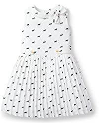 Girls' Ivory Pleated Chiffon Horse Print Dress