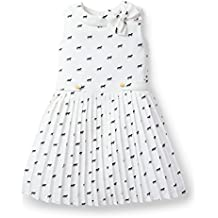 Hope & Henry Girls' Ivory Pleated Chiffon Horse Print Dress