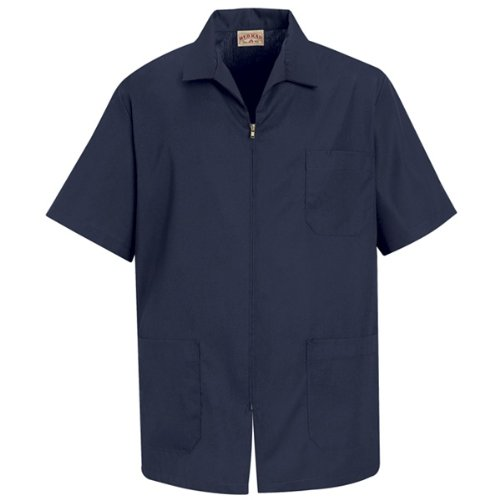 Red Kap Men's Zip-front Smock, Navy, Short Sleeve 4X-Large by Red Kap
