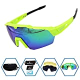 GIEADUN Sports Sunglasses Protection Cycling Glasses with 4 Interchangeable Lenses Polarized UV400 for Cycling, Baseball,Fishing, Ski Running,Golf (Green) Review